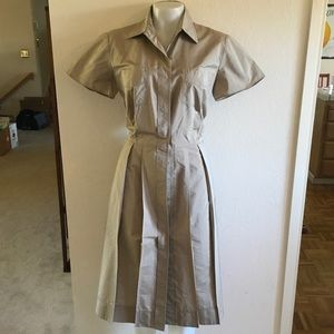 LIDA BADAY Beige Silk Shirt Dress Sz 12